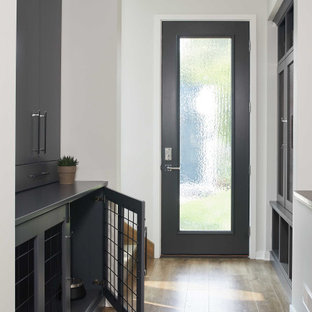 Inspiration for a mid-sized contemporary brown floor and medium tone wood floor entryway remodel in Grand Rapids with white walls and a glass front door