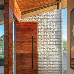 Esempio di un ingresso o corridoio design con pareti bianche, una porta a pivot, una porta in legno bruno e pavimento beige