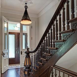 Inspiration for a victorian entryway remodel in Chicago with a glass front door