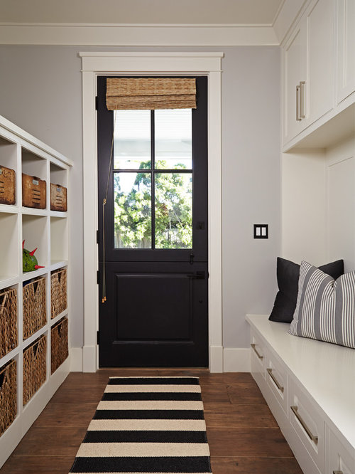 Transitional Medium Tone Wood Floor Entryway Idea In Orange County With  Gray Walls And A Black