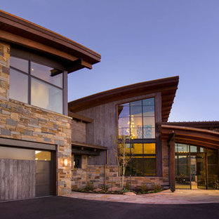 This is an example of a large contemporary front door in Denver with a single front door and a glass front door.