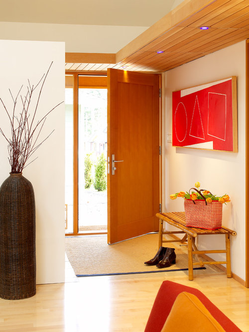Modern single front door idea in Vancouver with a medium wood front door & Panel Doors | Houzz pezcame.com