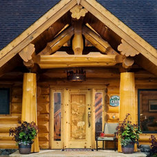 Rustic Entry by Summit Log & Timber Homes
