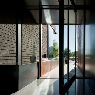 Inspiration for a large modern terrazzo floor entryway remodel in Phoenix with gray walls and a metal front door
