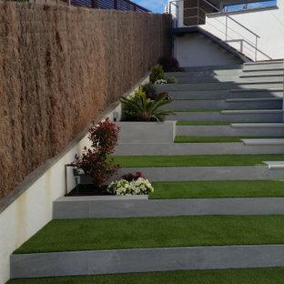 Diseño de escalera curva, minimalista, de tamaño medio, con escalones de piedra caliza y contrahuellas con baldosas y/o azulejos