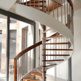 Foto de escalera de caracol, minimalista, de tamaño medio, sin contrahuella, con escalones de madera