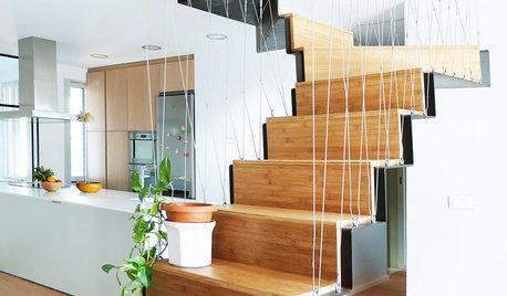 En detalle: Una escalera de madera que articula una casa