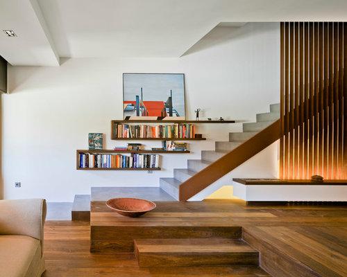 modelo de escalera recta minimalista grande con escalones de hormign y de