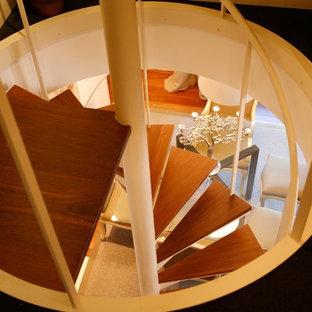 ビルバオの中サイズの木のコンテンポラリースタイルのおしゃれな階段 (金属の手すり) の写真