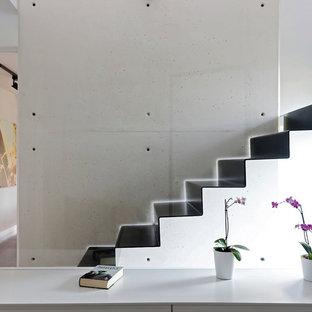 Idées déco pour un petit escalier droit contemporain avec des marches en métal et des contremarches en métal.