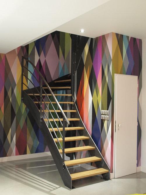 photos et id es d co d 39 escaliers papier peint intiss. Black Bedroom Furniture Sets. Home Design Ideas