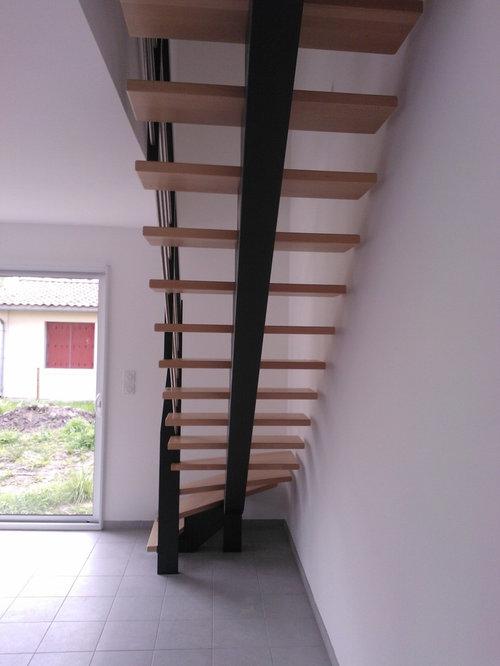 Escalier À Limon Central En Bois Teinté Gris Anthracite 7016