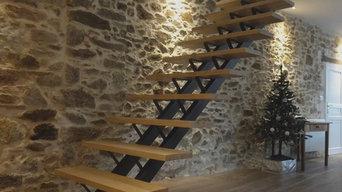 Escalier acier patiné noir & marches chêne massif