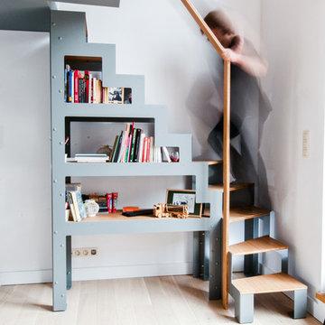 Escalier bibliothèque Libro et rambarde dressing ouvert pour mezzanine