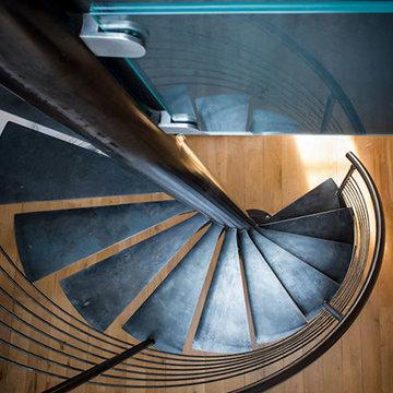 Escalier colimaçon acier