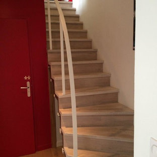 Trendy painted straight staircase photo in Nantes with painted risers