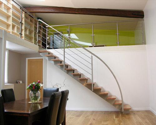 Escalier Droit Design Inox et Bois