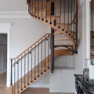 Exemple d'un escalier hélicoïdal chic de taille moyenne avec des marches en bois, un garde-corps en matériaux mixtes et des contremarches en bois.