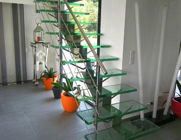 Escalier Manhattan inox et verre / Manhattan stainless steel and glass stairs