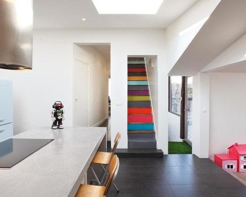 Photos et idées déco d\'escaliers avec des contremarches en bois peint