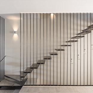 Cette image montre un escalier sans contremarche flottant design.
