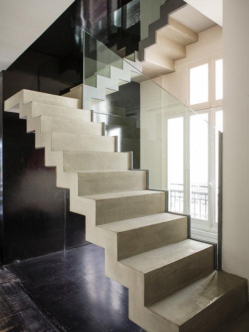 Photos et id es d co d 39 escaliers contemporains avec des contremarches en - Escalier contemporain beton ...
