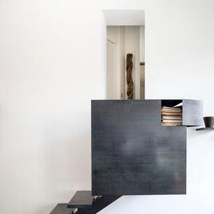 Cette photo montre un petit escalier sans contremarche droit éclectique avec des marches en métal.