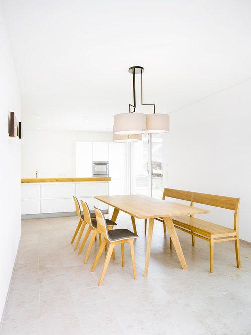 Fesselnd Mittelgroße Moderne Wohnküche Mit Weißer Wandfarbe Und Linoleum In Stuttgart