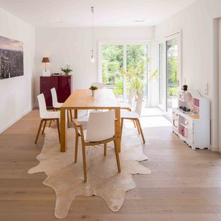 Geschlossenes, Mittelgroßes Skandinavisches Esszimmer mit weißer Wandfarbe, hellem Holzboden und braunem Boden in Sonstige