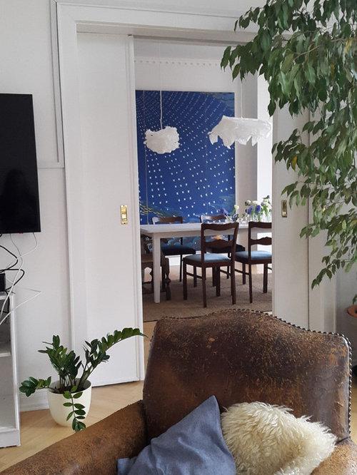 Einrichtungsidee Für Geschlossene, Mittelgroße Shabby Look Esszimmer Mit  Weißer Wandfarbe, Hellem Holzboden Und