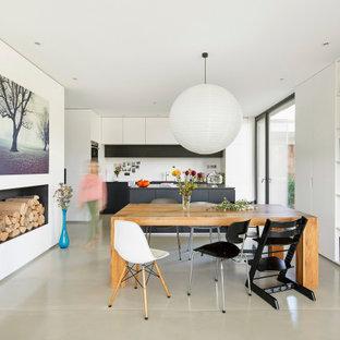 Offenes Modernes Esszimmer mit weißer Wandfarbe, Betonboden, Kamin und grauem Boden in Sonstige