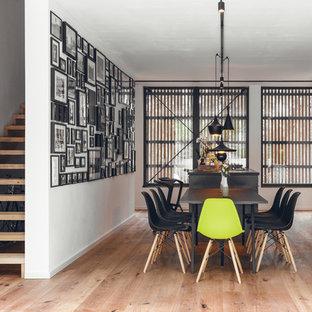 Modernes Esszimmer mit weißer Wandfarbe, braunem Holzboden und braunem Boden in Nürnberg