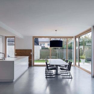 Esempio di una grande sala da pranzo aperta verso la cucina minimalista con pareti bianche, pavimento in linoleum, nessun camino e pavimento grigio
