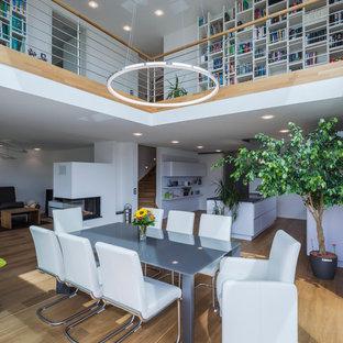 Foto de comedor minimalista, extra grande, abierto, con paredes blancas, suelo de madera en tonos medios, chimenea de esquina y marco de chimenea de yeso