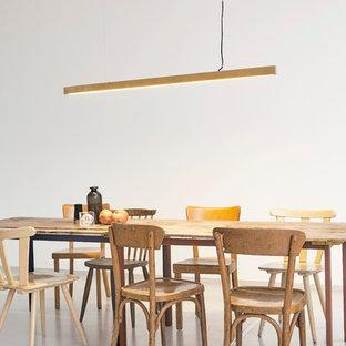 Immagine di un'ampia sala da pranzo nordica con pareti bianche e pavimento bianco