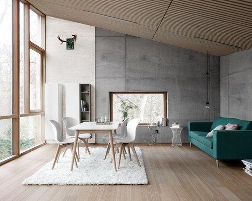 skandinavische esszimmer mit grauer wandfarbe ideen design bilder houzz. Black Bedroom Furniture Sets. Home Design Ideas