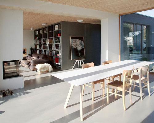 esszimmer mit betonboden design ideen bilder beispiele. Black Bedroom Furniture Sets. Home Design Ideas