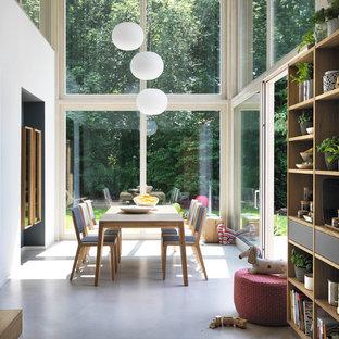 Immagine di un'ampia sala da pranzo aperta verso il soggiorno design con pavimento in cemento, nessun camino e pavimento grigio