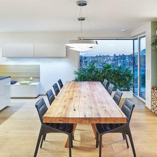 Offenes, Mittelgroßes Modernes Esszimmer mit grauer Wandfarbe, braunem Holzboden, Eckkamin, verputzter Kaminumrandung und beigem Boden in Nürnberg