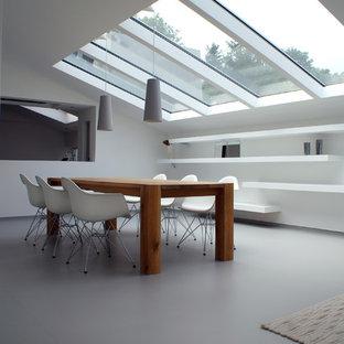 Foto di una sala da pranzo contemporanea con pareti bianche e pavimento grigio