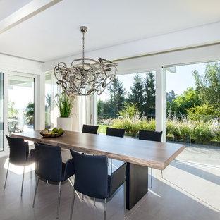 Esempio di una grande sala da pranzo minimal chiusa con pareti bianche, pavimento con piastrelle in ceramica, nessun camino e pavimento beige