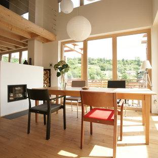 Mittelgroßes, Offenes Modernes Esszimmer mit weißer Wandfarbe, hellem Holzboden, Tunnelkamin, verputzter Kaminumrandung und beigem Boden in Sonstige