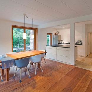 Offenes, Mittelgroßes Nordisches Esszimmer Mit Weißer Wandfarbe, Braunem  Holzboden, Kaminofen, Verputztem Kaminsims