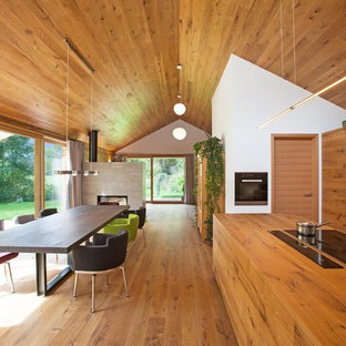 Contemporary kitchen/dining combo in Other with medium hardwood floors and white walls.