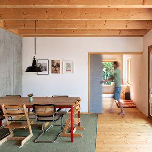 Mittelgroßes Asiatisches Esszimmer mit weißer Wandfarbe, hellem Holzboden und beigem Boden in München