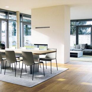 Новый формат декора квартиры: большая гостиная-столовая в современном стиле с белыми стенами, светлым паркетным полом, печью-буржуйкой, фасадом камина из бетона и бежевым полом