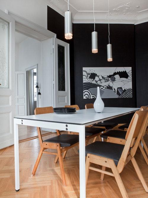 Esszimmer Mit Schwarzer Wandfarbe Ideen Design Bilder Houzz