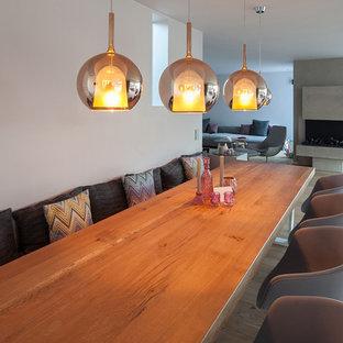 Esempio di una grande sala da pranzo aperta verso il soggiorno minimalista con pareti bianche, parquet chiaro, camino classico, cornice del camino in cemento e pavimento marrone