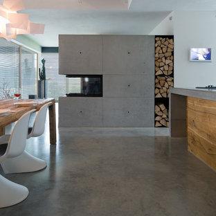 Ispirazione per una sala da pranzo design con pavimento in cemento e camino bifacciale