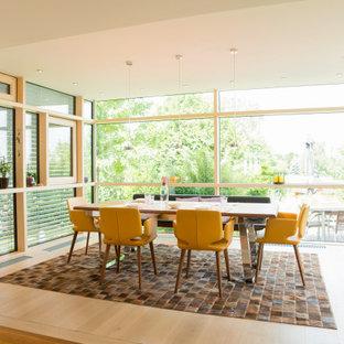 Großes Modernes Esszimmer mit hellem Holzboden in Sonstige